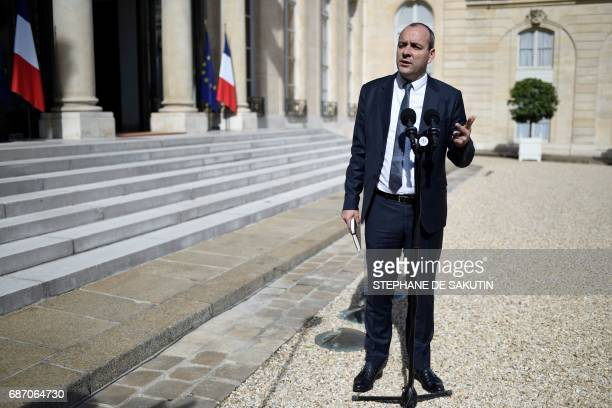 French Democratic Confederation of Labour union general secretary Laurent Berger gestures as he speaks upon his arrival at the Elysee presidential...