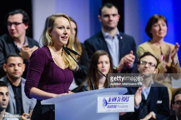 French Deputy Marion Marechal Le Pen delivers a speech during the 'Assises de la présidentielle' at the Cite internationale on February 4 2017 in...