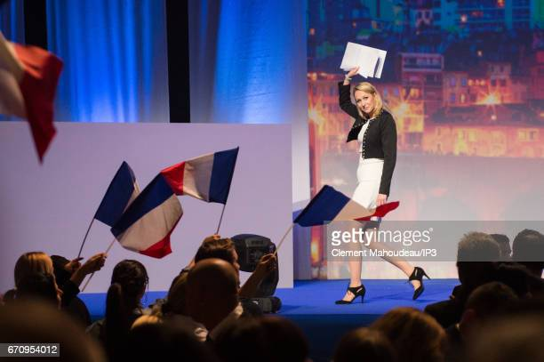 French Deputy Marion Marechal Le Pen delivers a speech during the meeting of her aunt Marine Le Pen National Front Party Leader and candidate for the...