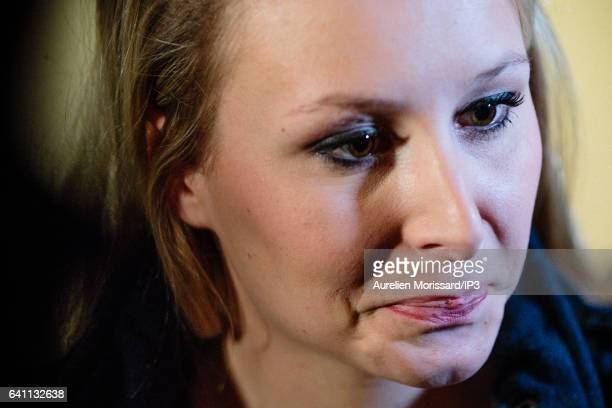 French Deputy Marion Marechal Le Pen speaks to the media during the 'Assises de la présidentielle' at the Cite internationale on February 4 2017 in...