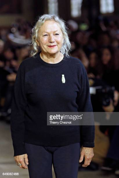 French designer Agnes B acknowledges the audience after presenting his Fall/Winter 2017/18 Ready to Wear collection during the Paris Fashion Week on...