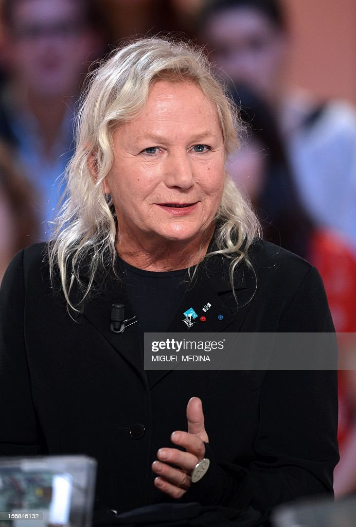 French designer Agnes B takes part in the TV show 'Le grand journal' on a set of French TV Canal+ on November 22, 2012 in Paris, during the launching of the French charity association Abbe Pierre Foundation's winter campaign, on November 22, 2012 in Paris as part of the launching of the French charity association Abbe Pierre Foundation's winter campaign.