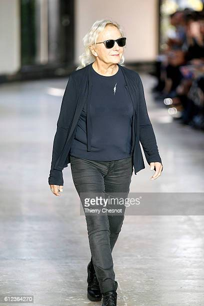 French designer Agnes Trouble walks the runway after the Agnes B show as part of the Paris Fashion Week Womenswear Spring/Summer 2017 on October 4...