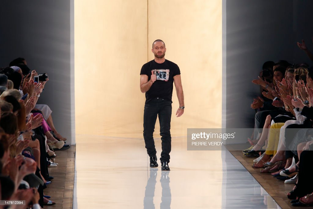 French designer Alexandre Vauthier acknowledges the audience at the end of his Haute Couture FallWinter 20122013 show on July 3 2012 in Paris AFP...