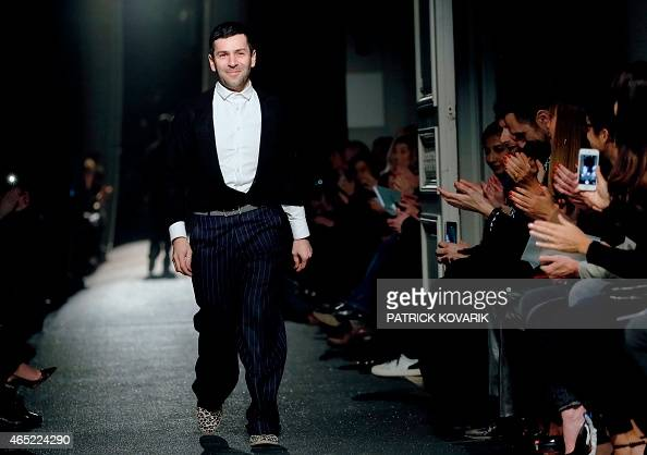 French designer Alexis Mabille acknowledges the audience at the end of his 20152016 fall/winter readytowear collection fashion show on March 4 2015...