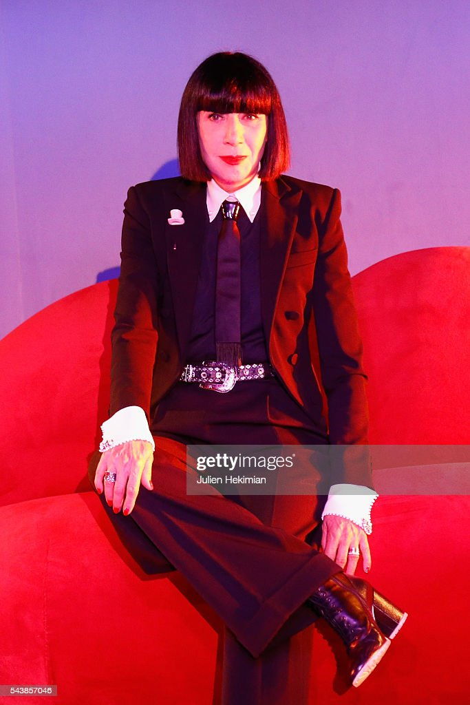French Designer Chantal Thomass, Crazy Horse new guest, is pictured during the press conference at Le Crazy Horse on June 30, 2016 in Paris, France.