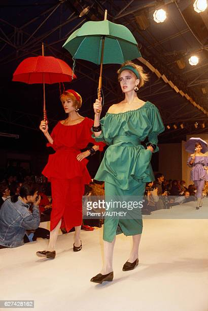 French designer Emmanuelle Khahn shows her 1985 springsummer women's readytowear line in Paris The models are wearing skirts with offtheshoulder...