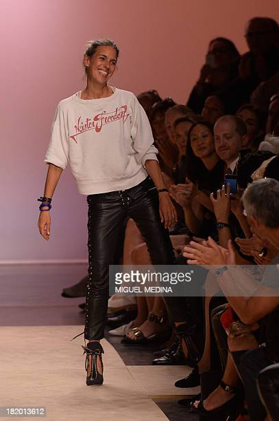 French designer Isabel Marant acknowleges the public at the end of the 2014 Spring/Summer readytowear collection fashion show on September 27 2013 in...