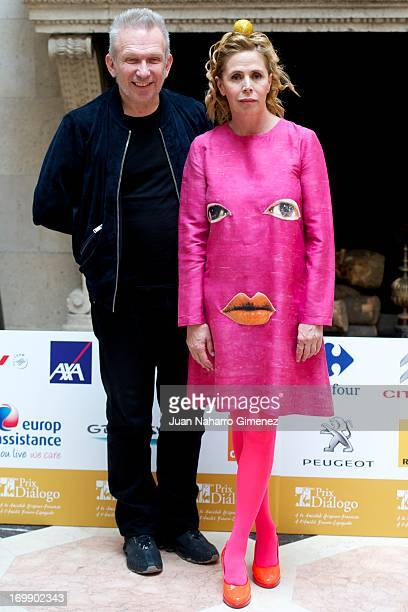 French designer Jean Paul Gaultier and Spanish designer Agatha Ruiz de la Prada attend the 'Prix Dialogo' press conference at the French Embassy on...