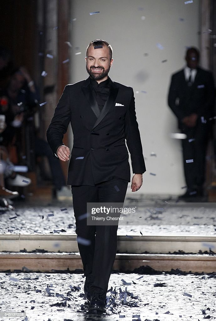 French designer Julien Fournie walks the runway after the Julien Fournie Haute Couture Fall/Winter 20162017 show as part of Paris Fashion Week on...