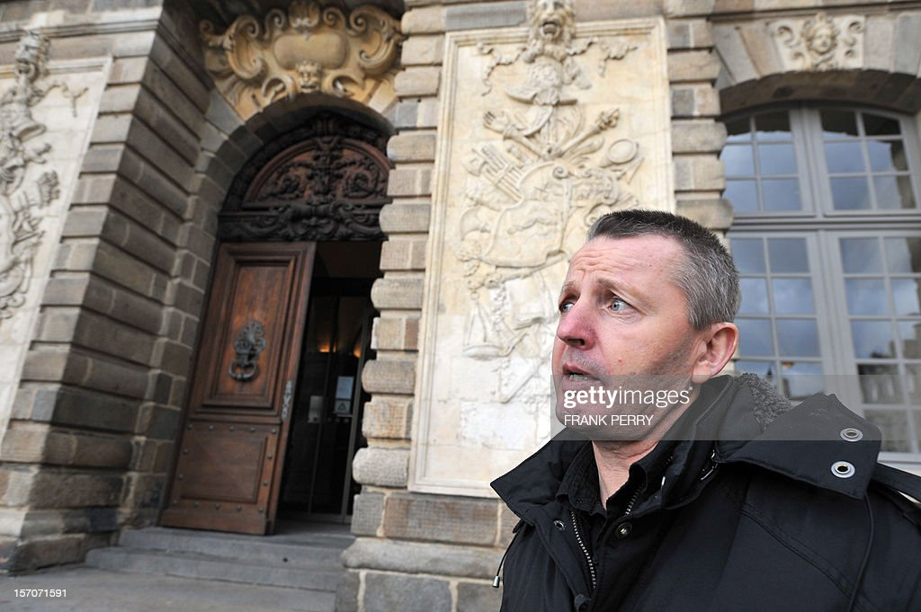 French Didier Jambart arrives at the courthouse in Rennes, western France, on November 28, 2012, before the appeal court rendered its verdict. The court upheld a ruling ordering pharmaceutical giant, British GlaxoSmithKline to pay 197,000 euros (some 254,000 US dollars) to Didier Jambart who claimed that the drug Requip to treat Parkinson's turned him into a gay sex and gambling addict. PERRY