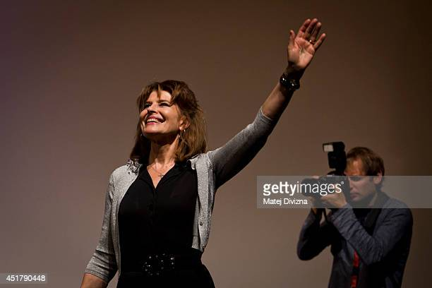 French director and actress Fanny Ardant presents her 'Obsessive Rhythms' film at the 49th Karlovy Vary International Film Festival on July 6 2014 in...