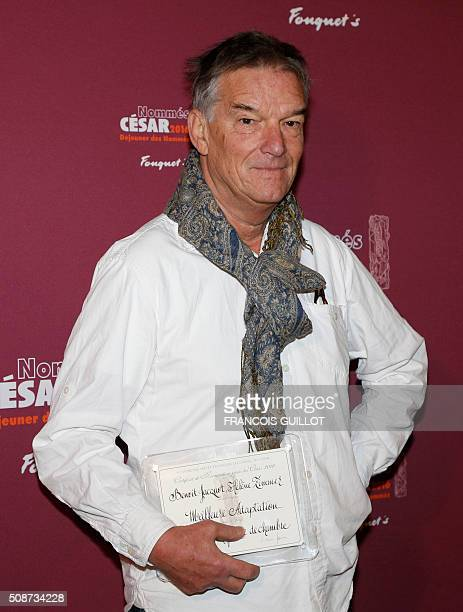 French director Benoit Jacquot poses with his nomination certificate for Best Adaptation during the nominations event for the 2016 César film awards...