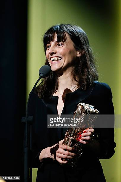 French director Cecile Ducrocq speaks after winning the Best Short Film award for 'La ContreAllee ' during the 41st edition of the Cesar Ceremony at...