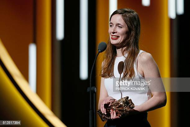 French director Celine Devaux speaks after winning the Best Animated Feature award for 'Le Repas Dominical ' during the 41st edition of the Cesar...