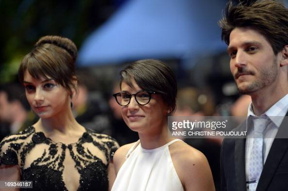 French director Chloe Robichaud actors JeanSebastien Courchesne and actress Sophie Desmarais arrive on May 23 2013 for the screening of 'Sarah...