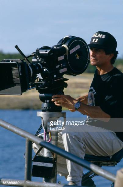 French director Claude Lelouch on the set of his film Itineraire d'un Enfant Gate