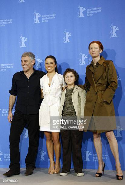 French director Erick Zonca actors Mexican Kate del Castillo Aidan Gould of the US and British Tilda Swinton pose during the photocall of their movie...