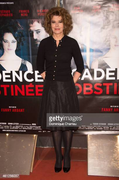 French Director Fanny Ardant attends the 'Cadences Obstinees' Paris Premiere at UGC Cine Cite des Halles on January 7 2014 in Paris France