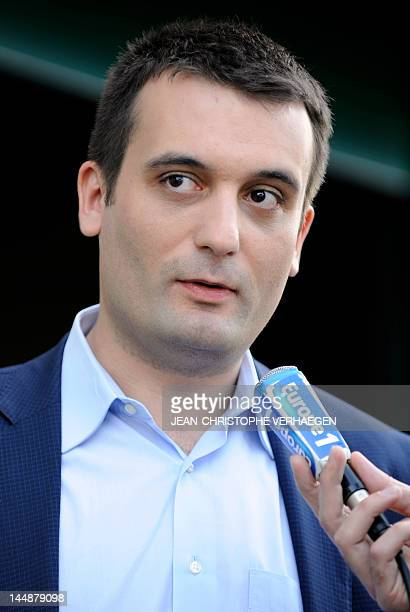 French director for strategy of President of French farright party Front National Florian Philippot candidate for the June 2012 French parliamentary...