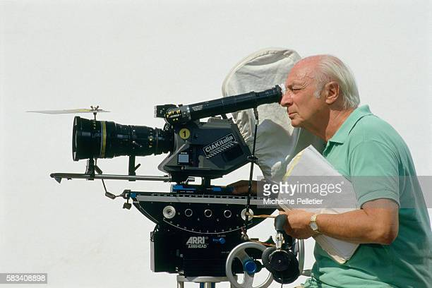 French director Gerard Oury on the set of his 1989 film 'Vanille Fraise'