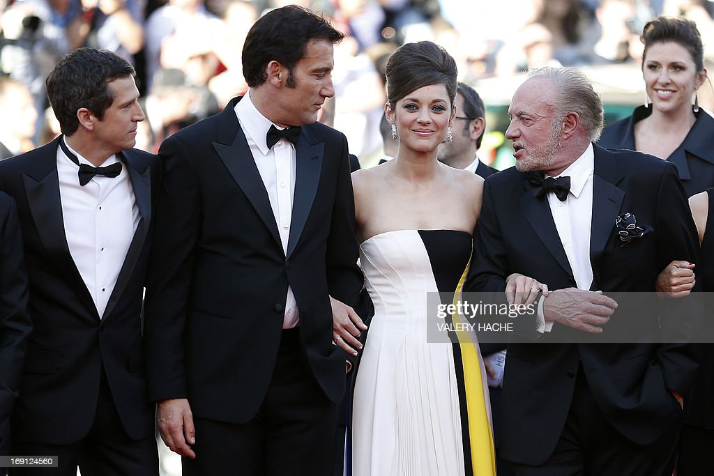 French director Guillaume Canet, British actor Clive Owen, French actress Marion Cotillard and US actor James Caan arrive on May 20, 2013 for the screening of the film 'Blood Ties' presented Out of Competition at the 66th edition of the Cannes Film Festival in Cannes. Cannes, one of the world's top film festivals, opened on May 15 and will climax on May 26 with awards selected by a jury headed this year by Hollywood legend Steven Spielberg.