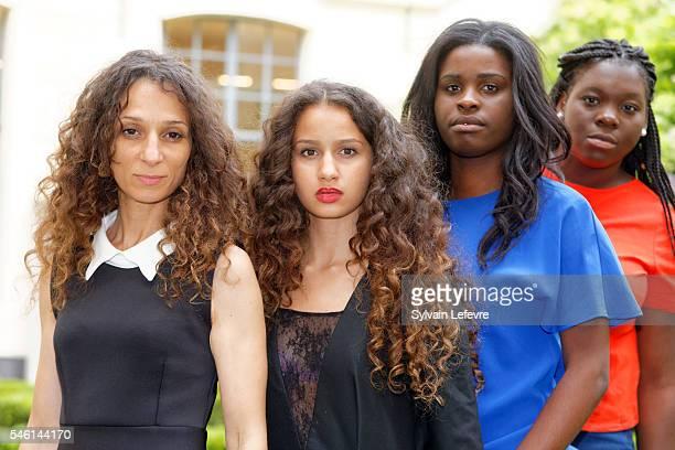 French director Houda Benyamina and actresses Oulaya Amamra Jisca Kalvanda and Deborah Lukumuena pose before press conference for 'Divines' premiere...