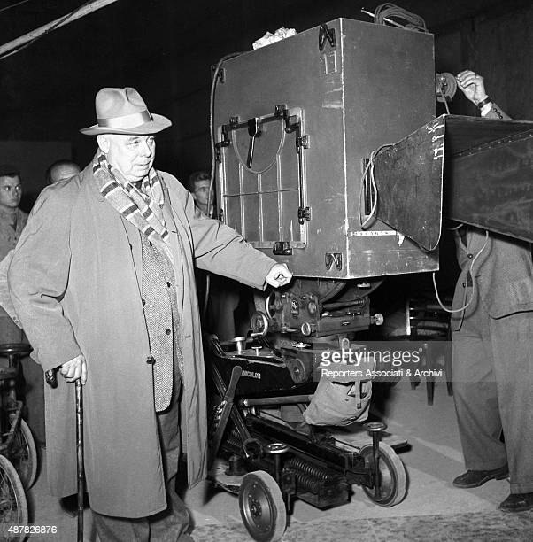 French director Jean Renoir preparing a scene in The Golden Coach Italy 1952