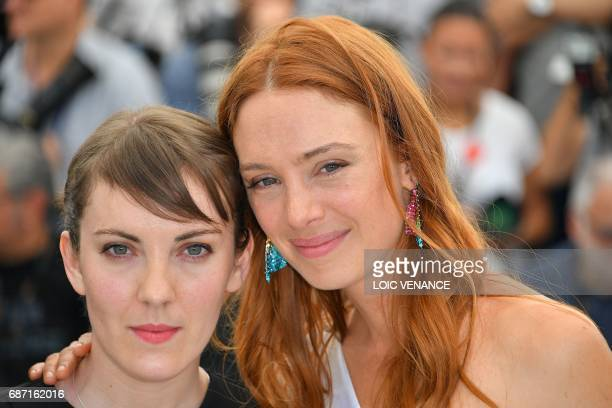 French director Leonor Serraille and French actress Lætitia Dosch pose on May 23 2017 during a photocall for the film 'Jeune Femme' at the 70th...