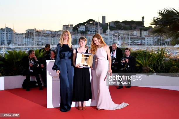 French director Leonor Serraille poses on May 28 2017 during a photocall with French actress and President of the Camera d'Or jury Sandrine Kiberlain...