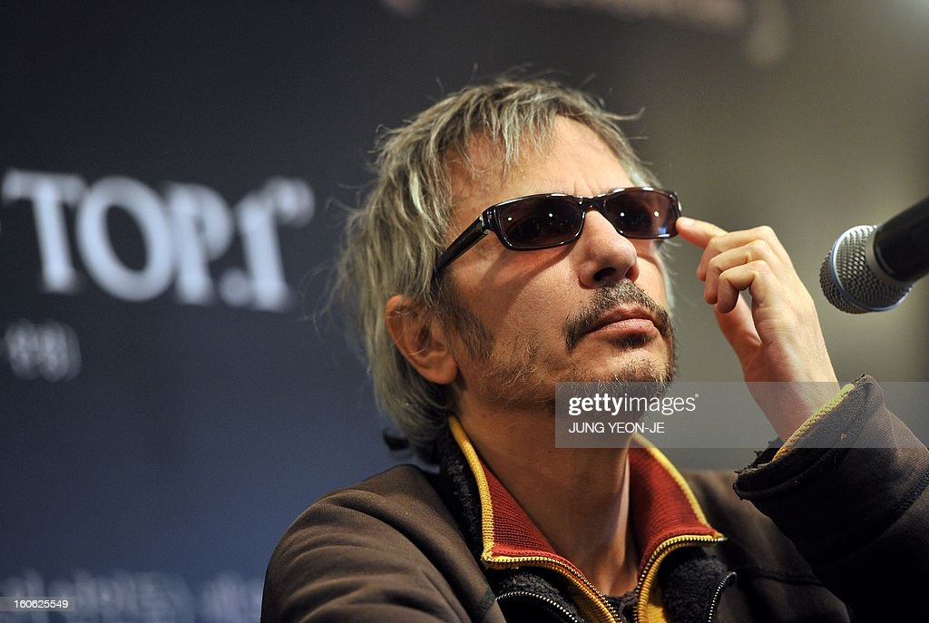 French director Leos Carax gestures during a press conference to promote his film 'Holy Motors' in Seoul on February 4, 2013. The movie will open in April in South Korea.