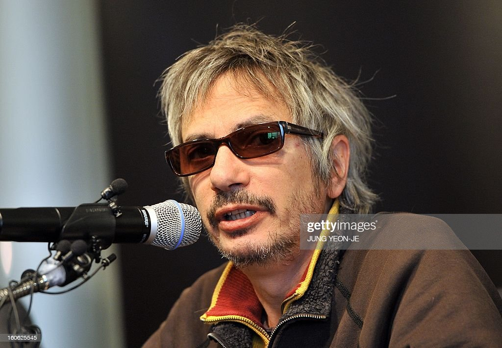 French director Leos Carax speaks during a press conference to promote his film 'Holy Motors' in Seoul on February 4, 2013. The movie will open in April in South Korea.