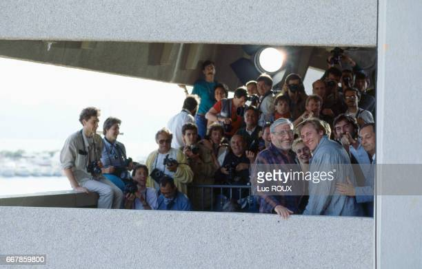 French director Maurice Pialat actress Sandrine Bonnaire and actor Gerard Depardieu attend the 40th Cannes Film Festival for the presentation of the...
