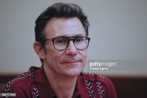 French Director Michel Hazanavicius answers the questions of press members within 54th International Antalya Film Festival in Antalya Turkey on...