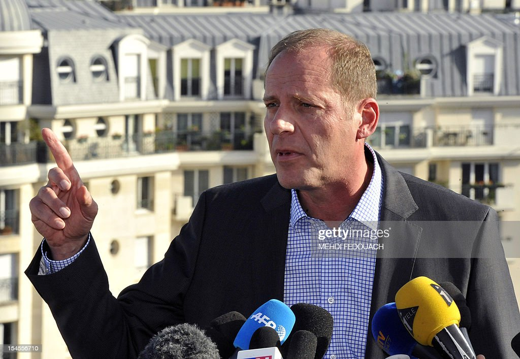 French director of Tour de France cycling race, Christian Prudhomme, answers journalists' questions on October 22, 2012 in Issy-les-Moulineaux, near Paris, after US cyclist Lance Armstrong was banned by the International Cycling Union (UCI) as the world cycling body upheld an earlier doping sanction handed to the seven-times Tour de France champion. The UCI said it would not contest sanctions already handed down by the US Anti-Doping Agency (USADA), stripping the cancer survivor of all of his results since August 1998 and earning him a ban for life.