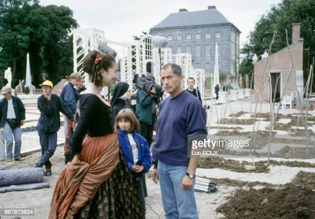 French director Philippe Rousselot with actress Carmen Chaplin on the set of his film The Serpent's Kiss