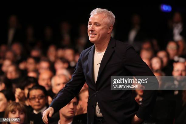 French director Robin Campillo heads for the stage after he was awarded with the Grand Prix for his film '120 Beats Per Minute ' on May 28 2017...