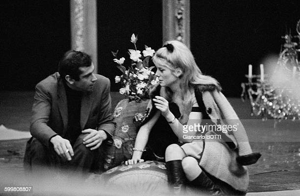French Director Roger Vadim And Actress Catherine Deneuve in Paris France in 1964