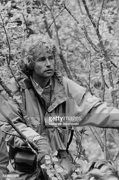 French director screenwriter and producer JeanJacques Annaud on the set of his film L'Ours
