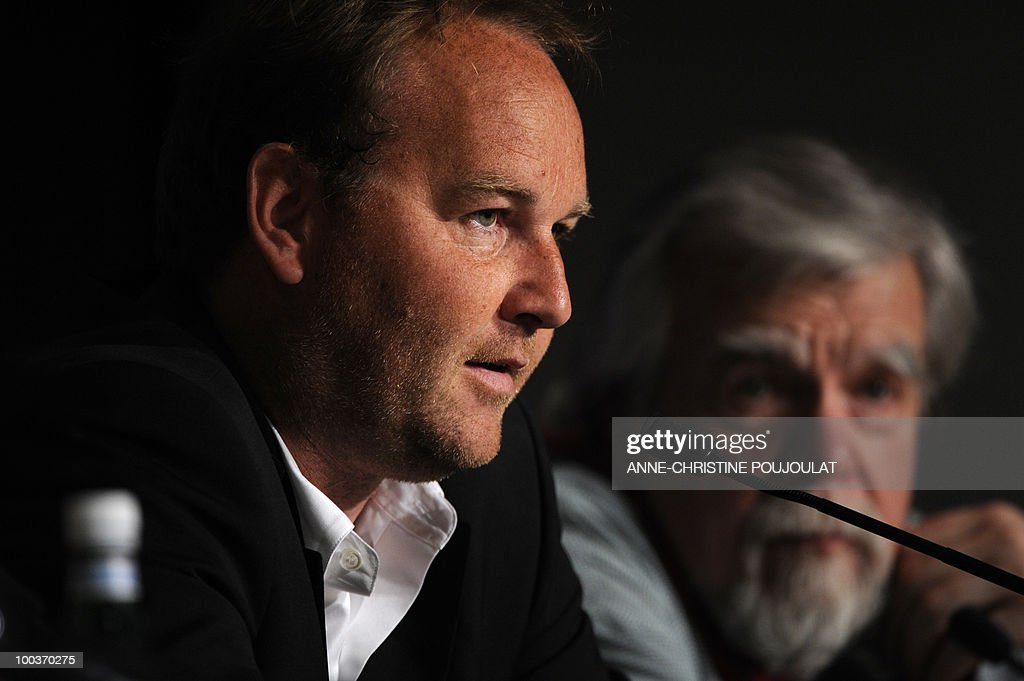 French director Xavier Beauvois and French actor Michael Lonsdale (R) speak during the press conference of 'Des Hommes et des Dieux' (Of God and Men) presented in competition at the 63rd Cannes Film Festival on May 18, 2010 in Cannes.