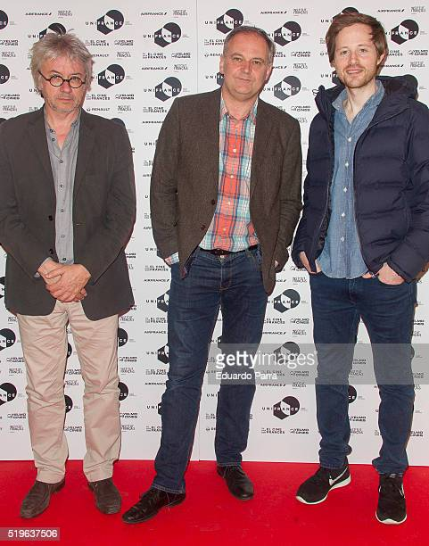 French directors Christian Vincent Christian Carion and Rudi Rosenberg attend 'A Date With French Cinema' presentation at Ideal cinema on April 7...