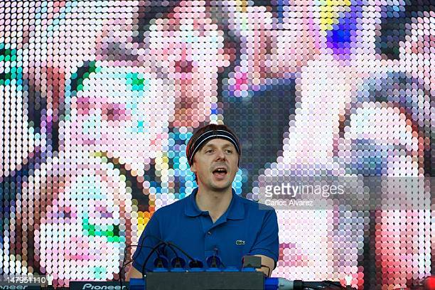 French DJ Martin Solveig performs on stage during Rock in Rio Madrid 2012 on July 6 2012 in Arganda del Rey Spain
