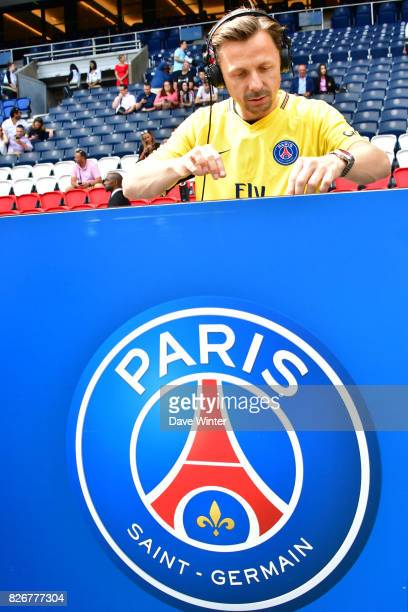 French DJ Martin Solveig plays a set before the Ligue 1 match between Paris Saint Germain and Amiens SC at Parc des Princes on August 5 2017 in Paris...