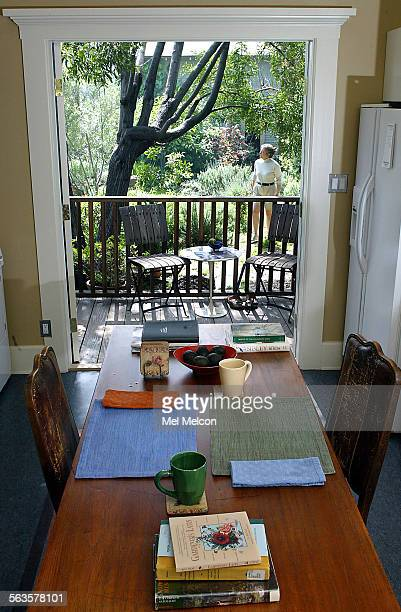 French doors open the room of Emily Green's newly remodeled kitchen onto the garden at her home in Los Angeles Digital image taken on 03/18/04