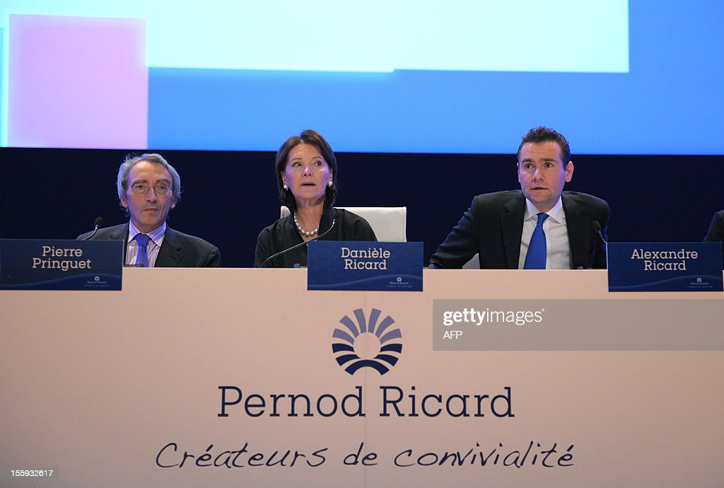 French drinks group Pernod Ricard CEO Pierre Pringuet, Chairman of the Board, Daniele Ricard and Deputy CEO and Chief Operating Officer Alexandre Ricard attend the group's general meeting in Paris on November 9, 2012.