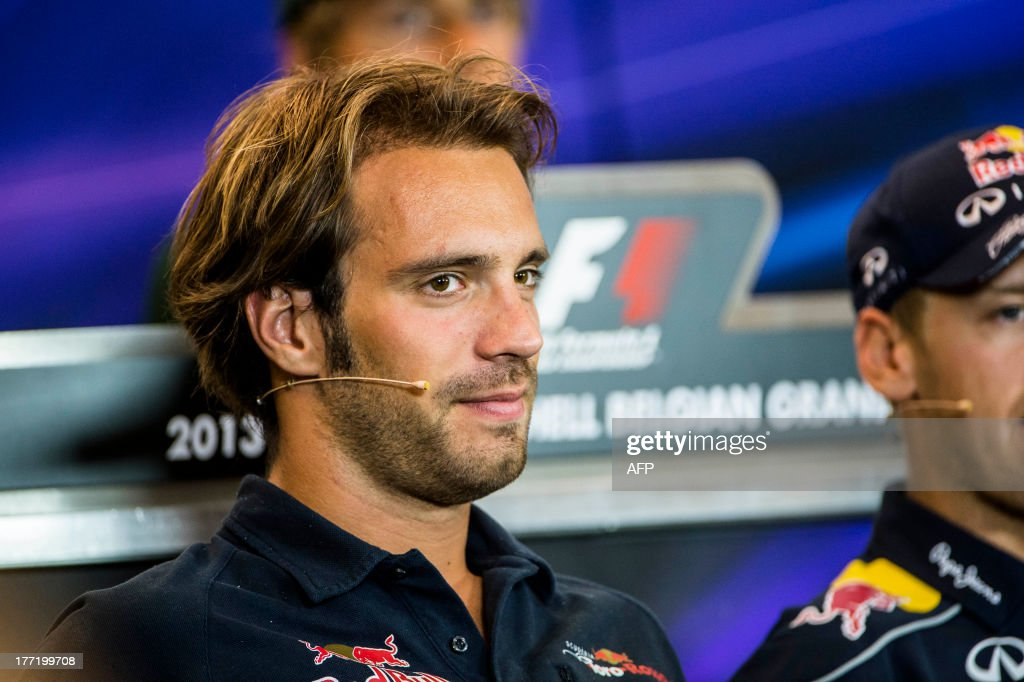 French driver Jean-Eric Vergne of the Scuderia Toro Rosso attends a press conference during the preparations ahead of the Grand Prix of Belgium, in Spa-Francorchamps, on August 22, 2013. The Spa-Francorchamps Formula One Grand Prix takes place this weekend, from 23 August to 25 August.
