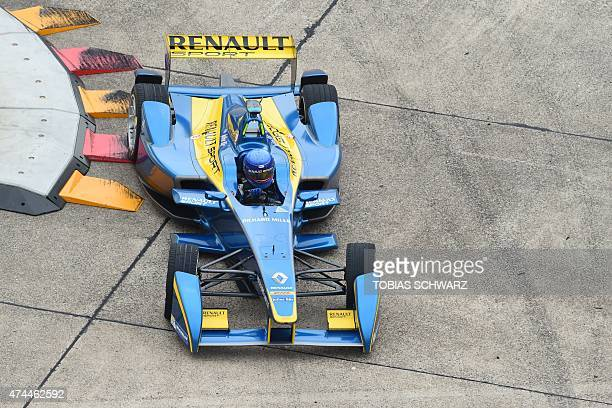 French driver Nicolas Prost of team edamsRenault attends a practise session of the 2015 Fia Formula E Berlin championships in Berlin on May 23 2015...