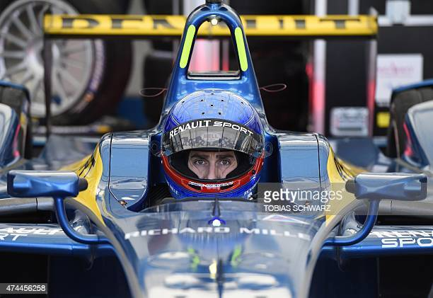 French driver Nicolas Prost of team edamsRenault waits for the start of a practise session of the 2015 Fia Formula E Berlin championships in Berlin...