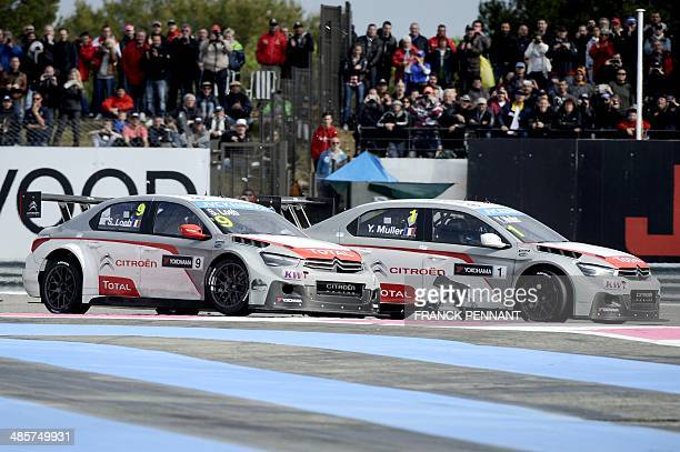 French driver Sebastien Loeb and French driver Yvan Muller compete during the 2nd race of the FIA World Touring Car Championship on April 20 2014 in...