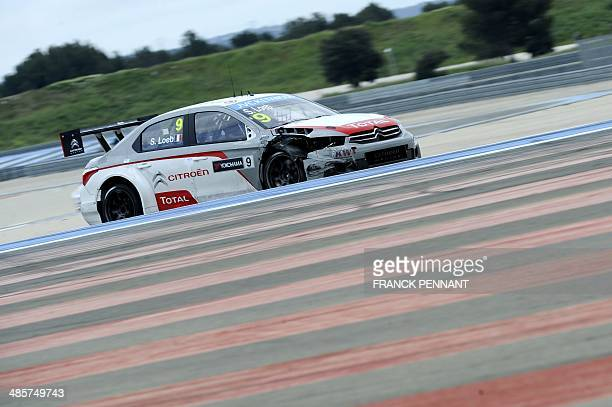 French driver Sebastien Loeb competes during the 2nd race of the FIA World Touring Car Championship on April 20 2014 in Le Castellet southern France...